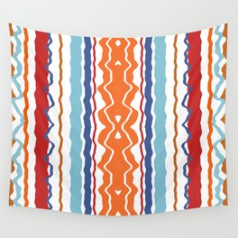 Wave Line Pattern Red Blue Orange Wall Tapestry