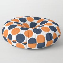navy and orange dots Floor Pillow