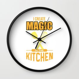 Chef Funny Cooking Utensils Magic In Kitchen Gift Wall Clock