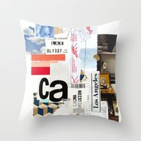 los angeles Throw Pillows featuring Los Angeles by Emily Rickard