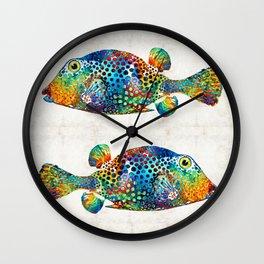 Puffer Fish Art - Puff Love - By Sharon Cummings Wall Clock