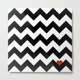 Heart & Chevron - Black/Classic Red Metal Print