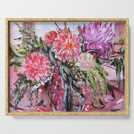 A LIFE TIME BANQUET- DAHLIAS- abstract floral still life by HSIN LIN / H.Lin the Artist Serving Tray