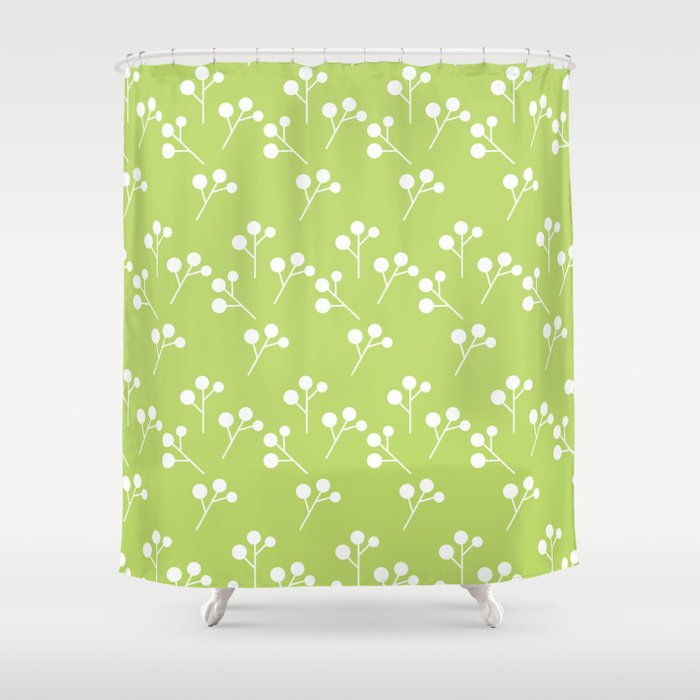 Modern Abstract Lime Green White Geometric Floral Shower Curtain