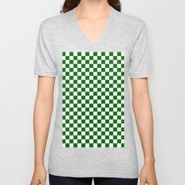 Small Checkered - White and Dark Green Unisex V-Neck