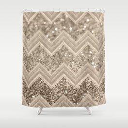 Sepia Glitter Chevron #1 #shiny #decor #art #society6 Shower Curtain