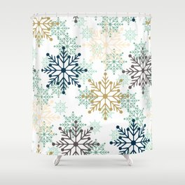 Christmas pattern with snowflakes. Shower Curtain