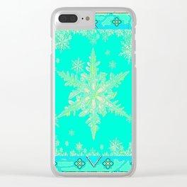 TURQUOISE ICELANDIC STYLE YELLOW SNOWFLAKE SKI  ART Clear iPhone Case