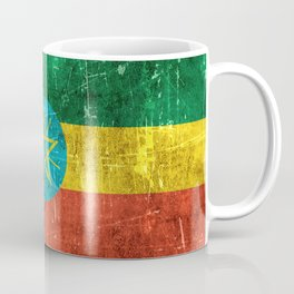 Vintage Aged and Scratched Ethiopian Flag Coffee Mug