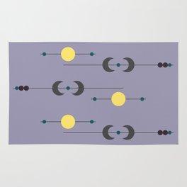 Waxing Waning Moon and Sun Rug