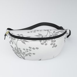 LEAF TOILE GRAY AND WHITE PATTERN Fanny Pack