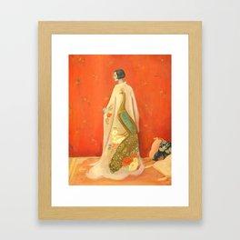 Peacock Kimono Framed Art Print