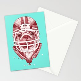 American Pug Football Red Stationery Cards