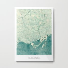 Toronto Map Blue Vintage Metal Print