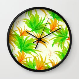 Spring tropical leaves pattern Wall Clock
