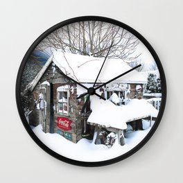 Rustic Shed Snowday Wall Clock