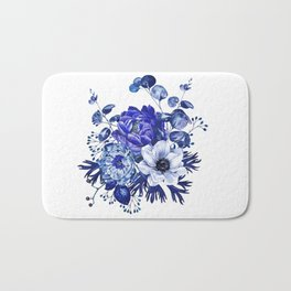 China Blue Porcelain, Asia, Peony, Flower, Floral, Cyan Bath Mat