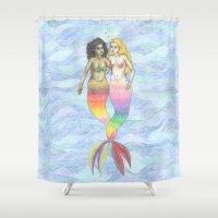 lesbian Shower Curtains featuring lesbian mermaids by ElenaM