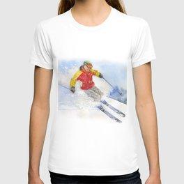 Skier, watercolor paintingon . T-shirt