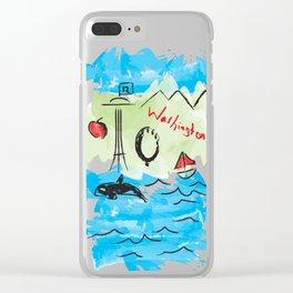 City scape - Seattle, Washington Clear iPhone Case