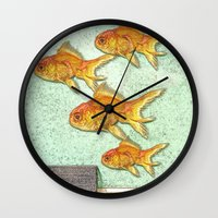 goldfish Wall Clocks featuring Goldfish by Mr and Mrs Quirynen
