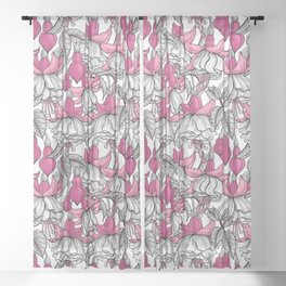 White fuchsia Sheer Curtain
