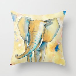 Water Color Elephant Colorful Throw Pillow