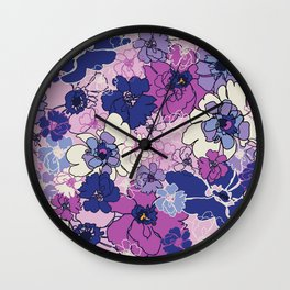 Red Violet and Navy Anemones Wall Clock