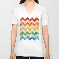quilt V-neck T-shirts featuring Chevron Rainbow Quilt by Rachel Caldwell