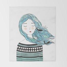 Whales in my hair Throw Blanket