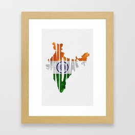 India World Map / Indian Typography Flag Map Art Framed Art Print