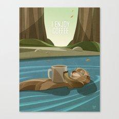 Otter enjoys Coffee Canvas Print