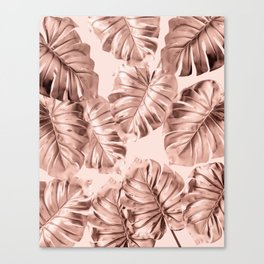 Rose Gold Monstera Leaves on Blush Pink 2 Canvas Print