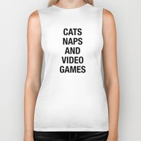 video games Biker Tanks featuring Cats Naps Video Games by ClicheZero