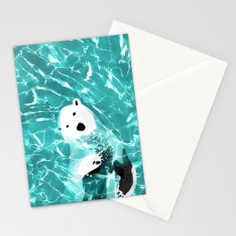 Playful Polar Bear In Turquoise Water Design Stationery Cards