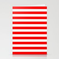 stripes Stationery Cards featuring Horizontal Stripes (Red/White) by 10813 Apparel