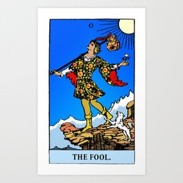 0 – The Fool, Tarot art with fresh energetic colors Art Print