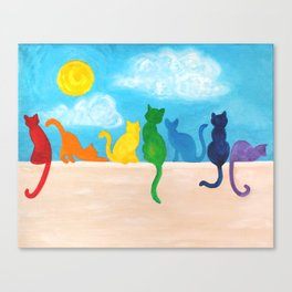 Catch A Rainbow - Cats on a Wall Canvas Print