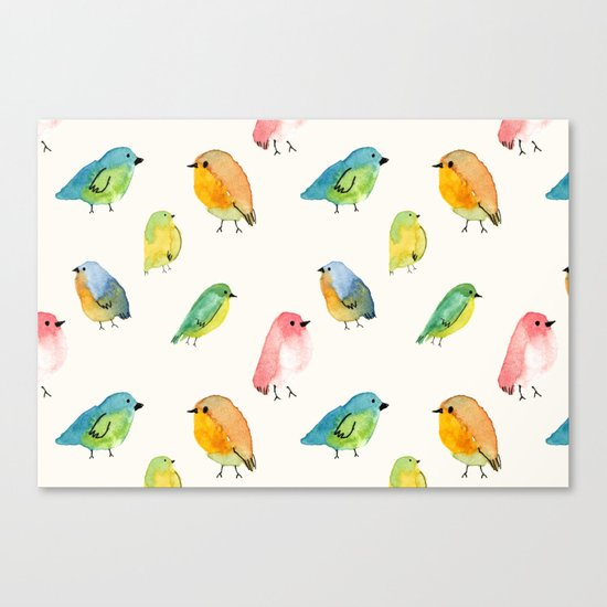 Watercolor Birds Pattern Canvas Print