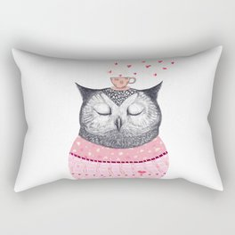 Owl lover of coffee Rectangular Pillow