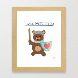 I will protect you - Teddy bear Knight Framed Art Print