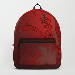 Sport, surfboard with floral elements and dolphin Backpack