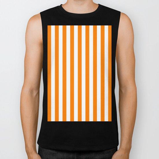 Vertical Stripes (Orange/White) Biker Tank