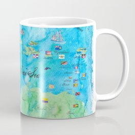 Caribbean Cruise Travel Poster Map Antilles West Indies Cuba Florida Coffee Mug