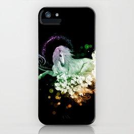 Wonderful unicorn with flowers iPhone Case