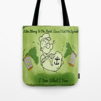 popeye Tote Bags featuring Popeye  by ItalianRicanArt
