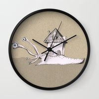 snail Wall Clocks featuring Snail by Bwiselizzy