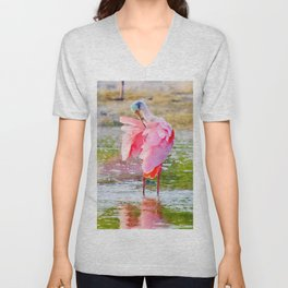 Roseate Spoonbill Preening Feathers Watercolor Unisex V-Neck