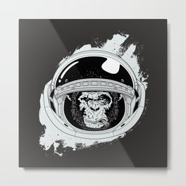 Black Space Monkey Metal Print