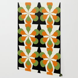 Mid-Century Modern Art 1.4 - Green & Orange Flower Wallpaper